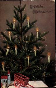 Ak Frohe Weihnachten, Weihnachtsbaum, Kerzen, Spielzeug