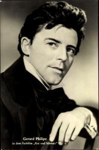 Ak Schauspieler Gerard Philippe, Portrait, Rot und Schwarz