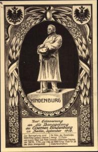 Passepartout Ak Generalfeldmarschall Paul von Hindenburg, Benagelung des Eisernen Hindenburg 1915