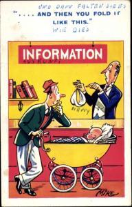 Künstler Ak Mike, Information, and then you fold it like this, Windel, Vater, Kinderwagen