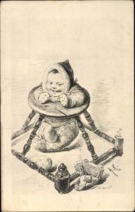 Künstler Ak Kaulbach, Hermann, Kind in einem Laufsitz