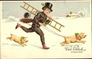 Ak Glückwunsch Neujahr, Schornsteinfeger, Glücksschweine