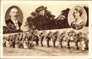 Ak Zirkus Krone, Elefanten, Zirkusdirektor Carl Krone, Ehefrau
