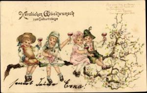 Präge Litho Glückwunsch Geburtstag, Kinder, Weingläser, Blütenstrauch