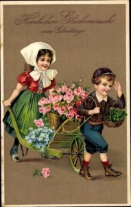Präge Litho Glückwunsch Geburtstag, Junge, Mädchen, Schubkarre, Blumen