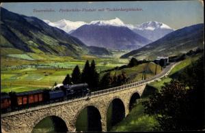 Ak Tauernbahn, Pyrkerhöhe Viadukt mit Tischlerkargletscher