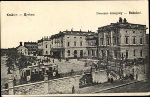 Ak Kraków Krakau Polen, Dworzec kolejowy, Bahnhof