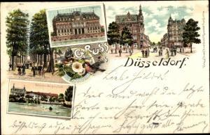 Litho Düsseldorf am Rhein, Hofgarten, Seufzerallee, Ständehaus, Elberfelder Straße