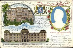 Präge Litho Darmstadt in Hessen, Großherzog Ernst Ludwig von Hessen, Schloss, Wappen