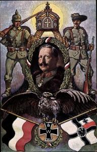 Künstler Ak Heil und Sieg dem Kaiser, Kaiser Wilhelm II., Kolonialkriegerdank