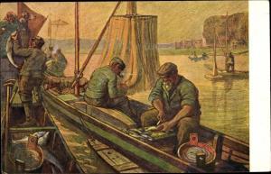 Künstler Ak Flussfischer beim Ausnehmen der Fische