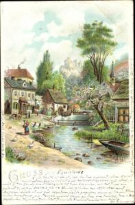 Litho Dorfpartie mit Wassermühle