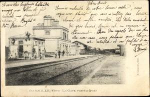 Ak Damville Eure, La Gare, vue du Quai