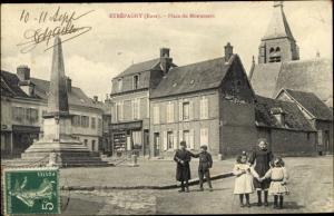 Ak Étrépagny Eure, Place du Monument