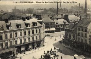 Ak Commentry Allier, Place du Quatorze Juillet et Rue de la Mine