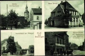 Ak Breitingen BW, Kirche mit Pfarrhaus, Neue Schule, Herrenhaus am Rittergut, Bahnhofstraße