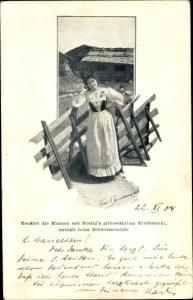 Ak Bauersfrau, Nestlés Kindermehl mit Schweizermilch