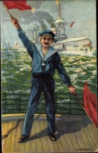 Künstler Ak Soldat auf einem Kriegsschiff, Lotse