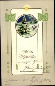 Litho Glückwunsch Weihnachten, Winterlandschaft, Rehe, Tannenbaum