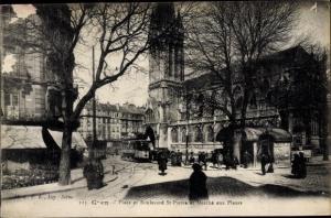 Ak Caen Calvados, Place et Boulevard St. Pierre, Marché aux Fleurs