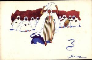 Künstler Ak Sandoz, Afrikaner, Araber, Schlange