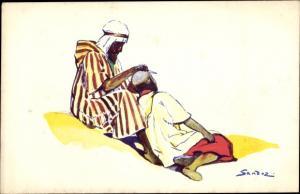 Künstler Ak Sandoz, Afrikaner, Barbier, Araber