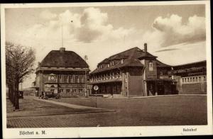Ak Frankfurt Höchst, Blick zum Bahnhof
