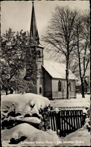 Ak Elend Oberharz am Brocken, Die kleinste Kirche, Winter
