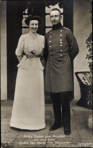 Ak Oskar Prinz von Preußen, Braut Gräfin Ina Marie von Bassewitz