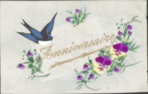 Zelluloid Ak Anniversaire, Glückwunsch Geburtstag, Stiefmütterchen, Schwalbe