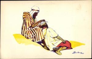 Künstler Ak Sandoz, Araber, Barbier