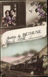 Ak Bethune Pas de Calais, Eisenbahn in Fahrt, Kinder am Fenster, Blumen