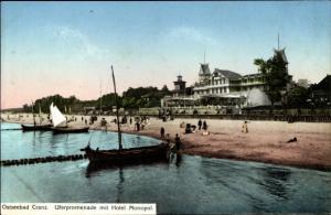 Ak Selenogradsk Cranz Ostpreußen, Uferpromenade mit Hotel Monopol