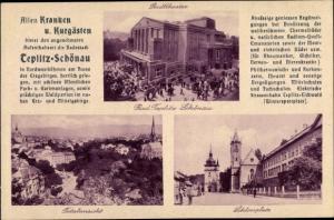 Ak Teplice Teplitz Schönau Reg. Aussig, Stadttheater, Totalansicht, Schlossplatz