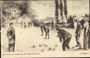 Künstler Ak Les joueurs de boules, sur les bords de la Loire