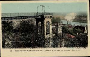 Ak Saint Germain en Laye Yvelines, Vue de la Terrasse sur la Seine, L'Ascenseur