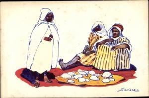 Künstler Ak Sandoz, Araber auf dem Boden sitzend, Afrikaner