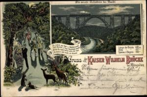 Mondschein Litho Wuppertal in Nordrhein Westfalen, Kaiser Wilhelm Brücke, Wanderer bei Nacht