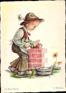 Künstler Ak Kühnlenz, Der kleine Maurer, Junge, Pantoffeln