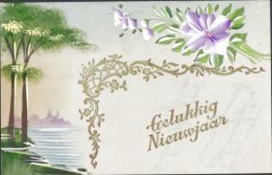 Zelluloid Ak Glückwunsch Neujahr, Gelukkig Nieuwjaar, Blumen