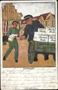 Künstler Ak Extrablatt, Händler mit Kisten Pelikan Tinte, Reklame