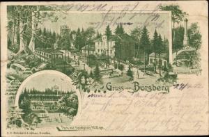 Litho Dresden Schönfeld Weißig, Borsberg, Bergrestaurant, Park, Spielplatz, Gradmessungssäule