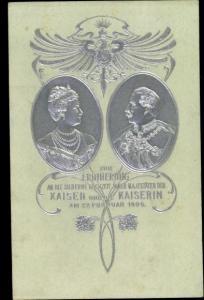Präge Ak Deutsches Kaiserpaar, Silberhochzeit 1906, Kaiser Wilhelm II., Kaiserin Auguste Viktoria