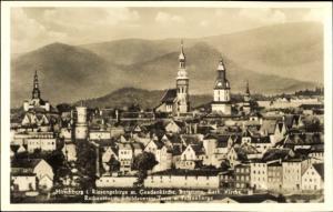 Ak Jelenia Góra Hirschberg Riesengebirge Schlesien, Gnadenkirche, Burgturm, Kath. Kirche