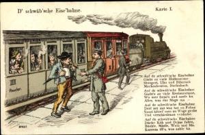 Lied Ak D' schwäb'sche Eise'bahne, Dampflok, Eisenbahn, Karte I