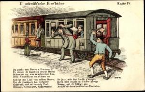 Lied Ak D' schwäb'sche Eise'bahne, Dampflok, Eisenbahn, Karte IV