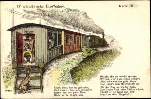 Lied Ak D' schwäb'sche Eise'bahne, Dampflok, Eisenbahn, Karte III