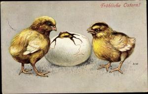 Künstler Ak Glückwunsch Ostern, Küken, Ei, schlüpfendes Küken