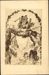 Künstler Ak Welti, Albert, Die Teufelsbrücke, Geier, Kuh