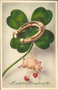 Ak Glückwunsch Neujahr, Kleeblatt, Hufeisen, Schwein, Herz, Fliegenpilz